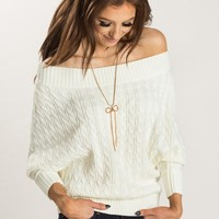 Aubrey Ivory Off the Shoulder Sweater