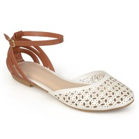 Brinley Co. Womens Cut-out Ankle Strap Flats - Casual - Flats - Shoes - MyFashionCorner