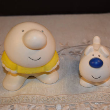 Ziggy and Fuzz Salt and Pepper shakers Vintage American Greetings Comic Ziggy S&P Shaker Tom Wilson Comic Strip Ziggy Fuzz Comic Collectible