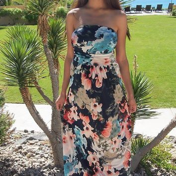 Show Me Off Strapless Watercolor Floral Print Navy Maxi Dress