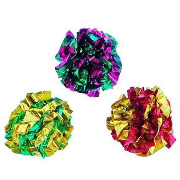 12pcs/lot Diameter 5cm Mylar Crinkle Ball Cat Toys Interactive Colorful Ring Paper Pet Toy For Cats Kitten