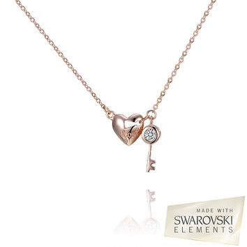 Swarovski Elements Crystal Love Key To My Heart Pendant 14K Rose Gold Plated Sterling Silver
