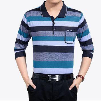Casual long sleeve business men shirts male striped fashion brand polo shirt designer men tennis