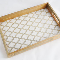 Quatrefoil Gray Stained Tray