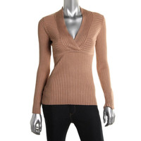 INC Womens Petites Ribbed Knit V-Neck Pullover Sweater