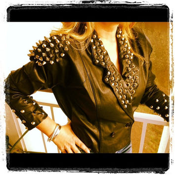 Vintage Studded Real Leather Jacket size Small