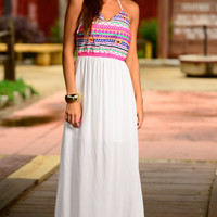 Tribal Embroidered Maxi, White
