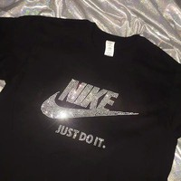 NIKE JUST DO IT Shining Diamond Women Men Top Shirt