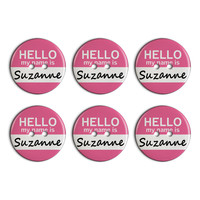 Suzanne Hello My Name Is Plastic Resin Button Set of 6