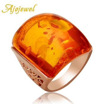 Ajojewel Beautiful Orange Resin Big Stone Ring Women Accessories Costume Jewelry 2017