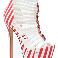 Socialite Red and White Striped Multi Straped Heels