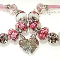Mother Daughter European Charm Bracelet Handmade Mothers Day Gift for Her lampwork murano glass bead leather Rhinestone Tibetan silver