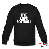 Live Love Softball crewneck sweatshirt