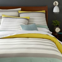 Color Block Stripe Duvet + Shams - Sea Mist