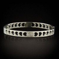 Stamper Women's Stainless Steel Heart Bangle Bracelet w/ H-D Bar & Shield. STB1590