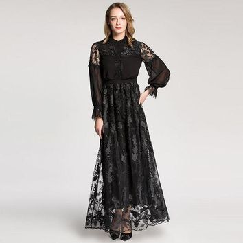 ONETOW retro women dress round collar lace patchwork long sleeve designer embroidered dress mopping floor long maxi dress