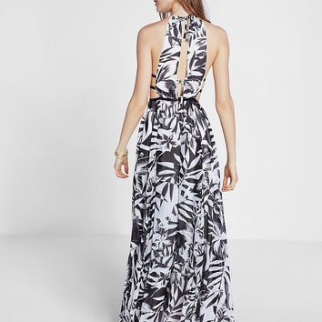 tropical print strappy cut-out plunge maxi dress