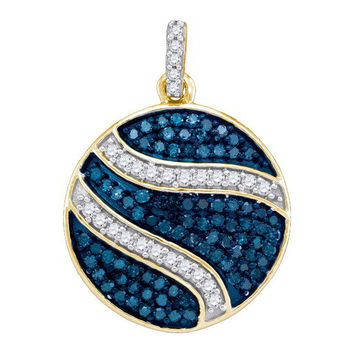 Blue Diamond Micro-pave Pendant in 10k Gold 0.75 ctw