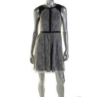 Kensie Womens Lace Faux Leather Cocktail Dress