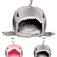 Luxury Shark Mouth Pet Dog Cat House Removable & Washable Dog Bed Kennel [7671504454]