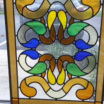 "Dazzling Stained Glass Panel,  Mission Style, ..Perfect Window Size: 18 "" x 24"", Great Gift!"