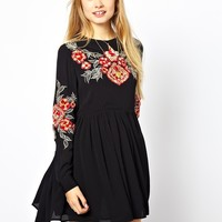 ASOS Smock Dress With Floral Embroidery