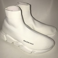 BALENCIAGA SPEED RUNNER US 10 WHITE/WHITE NOIR RARE MENS SNEAKER TRAINER