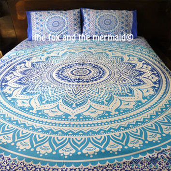 Blue Ombre Mandala tapestry sheet and pillowcase set, one queen sheet and 2 matching pillowcases, boho bedding, tapestry sheet & pillows