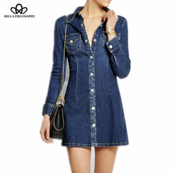 Spring  summer new  European and American double pocket turn-down collar  full sleeve denim navy blue dress