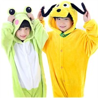 Children Kid Flannel Animal Pajamas Anime Cartoon Costumes Sleepwear Onesuit Cosplay Yellow Dog Onesuit Frog jumpsuit Onesuit