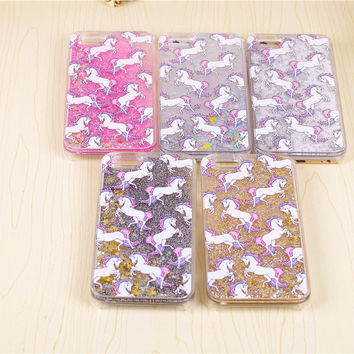 """Cartoon Unicorn Horse Dynamic Paillette Glitter Stars Water Dynamic iquid case for iPhone 7 5 5s 6 6s 6plus 5.5"""" Hard Case Cover"""