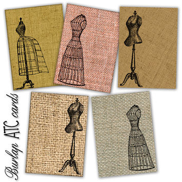 Burlap Background Steampunk ATC ACEO cards for Scrapbooking, Jewelry Holders, Tags Two Printable Digital Collage Sheet