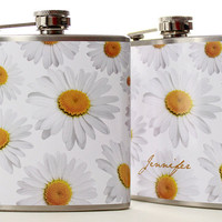 Personalized Flask, Hip Flask for Women, Daisy 6oz Liquor Flask