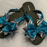 Teal Dance Cheer Flip Flops with Boutique Bow Kids by BlingForU2