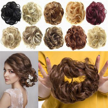 US Messy Bun Hair Extensions Hair Piece Bun Pony tail Elastic Scrunchie Wavy ncw