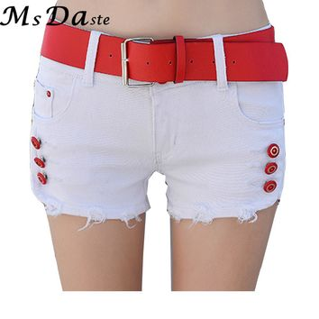 Sexy Casual Skinny Cross Slim Low Waist Jeans Shorts Femininos Summer Womens Denim Shorts Pantalon Mujer White Black W174