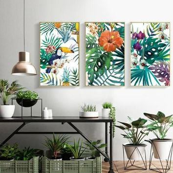 SURE LIFE Refreshing Rain Forest Green Plants Parrot Poster Prints Leaves Canvas Printings Wall Art  Pictures Living Room Decor