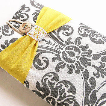 Ipad mini case, Ipad mini cover, Ipad mini sleeve -damask bow.