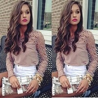 Just Model Women Lace Crochet Embroidery Tops Long Sleeve Shirt Casual Blouse