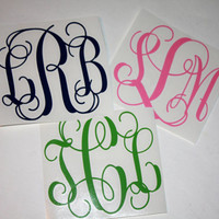 "3 Initial interlocking vinyl monogram decal - 5"" - Car decal"