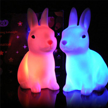 Favor Gift Toy LED Night Light Tiny Small Size Rabbit Shape Party Home Decor Cute #71201