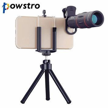 Powstro 1000m 18X Zoom Telescope Mobile Phone Lens 2 in 1 Universal Clips Telefon Camera Lens with Tripod for iPhone Samsung