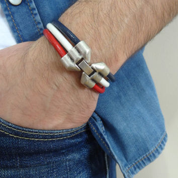 Unisex Red,Blue,White Leather Bracelet,Unisex Jewelry, 4th of july Bracelet, Threefold Cuff Bracelet, Valentine's Gifts