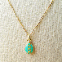Tiny Teardrop Necklace, Cerulean Green Teardrop Necklace, Green Resin Teardrop Green Necklace, Resin Jewelry For Her
