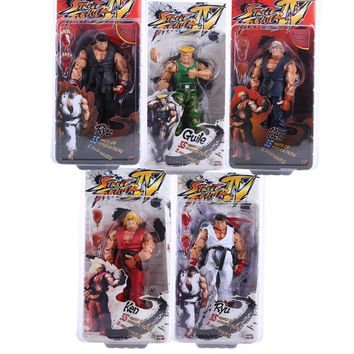 "NECA Player Select Street Fighter IV Survival Model Ken Ryu Guile Action Figure Toy 7"" 18CM SFFG013"