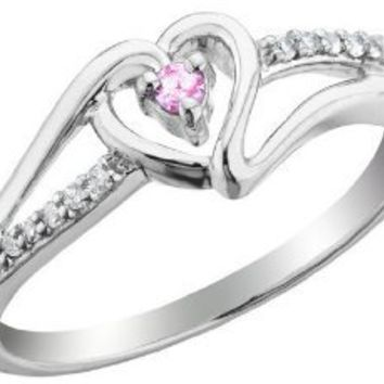 Pink Sapphire Heart Promise Ring with Diamonds 1/10 Carat (ctw) in Sterling Silver