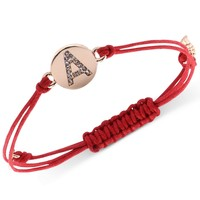 "RACHEL Rachel Roy Bracelet, Gold-Tone ""A"" Initial Amulet Red Cotton Cord Adjustable Bracelet"
