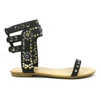 Mark and Maddux Channing-02 Round-studded Jewel Flat Sandals in Black @ ippolitan.com