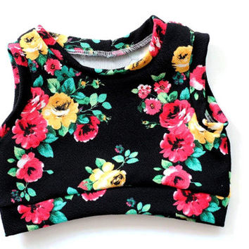 Baby crop top floral baby and toddler crop top kids fashion summer clothing roses baby cropped shirt sleeveless