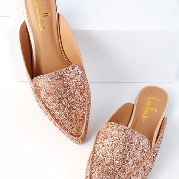 Joelle Rose Gold Glitter Loafer Slides